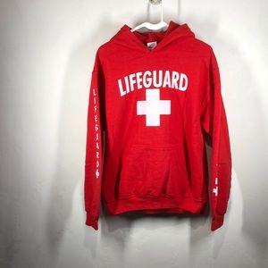 Lifeguard red hooded sweatshirt size medium
